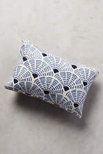 New Anthropologie Embroidered ~ Soundwaves Pillow  ~ Blue Sold Out!