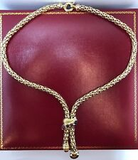 14k Yellow Gold Cabochon Ruby Sapphire Byzantine Heart Lariat Chain 585 Necklace