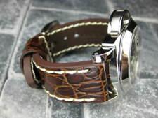 22mm BIG GATOR Leather Strap Brown Thick Watch Band Belt White Stitch PANERAI x1