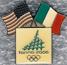 2006 TORINO USA AND ITALIAN FLAGS OLYMPIC NOC PIN