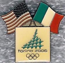 2006 TORINO USA AND ITALIAN FLAGS OLYMPIC NOC PIN