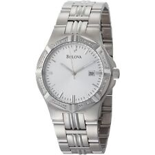 Bulova Men Diamond Case Silver Dial Brcelt Watch 96E107