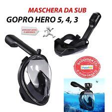 Maschera Da Sub Nero Con Tubo Per GOPRO HERO 5 / 4 / 3 Taglia L / XL