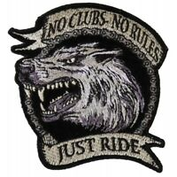 NO CLUBS, NO RULES, JUST RIDE - WOLF - IRON or SEW ON PATCH