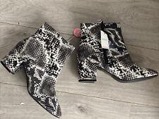 Size 7 Eu40 Primark Ladies Black Snakeskin Print Block Heel Ankle Boots Next Day