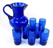 Vintage Cobalt Blue Glass Pitcher & Ringed Whiskey Tumblers Juice Glasses