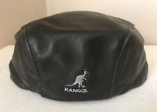 Kangol Black Leather Newsboy Cabbie Hat Size M EC!!