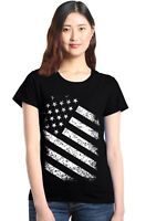 Distressed White American Flag Women's T-Shirt 4th of July USA Flag Shirts