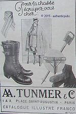 PUBLICITE TUNMER VETEMENTS POUR LA CHASSE ALPINISTE SPORT DE 1914 FRENCH AD PUB