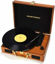 Musitrend Record Player Vinyl Turntable 3 Speed Vintage Record Players Wood
