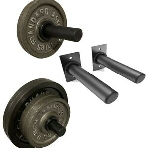 Wall Mounted Weight Barbell Plate Storage Holder Racks Space Efficient Home Gym