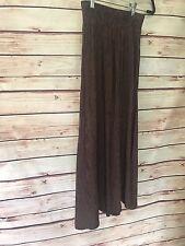 Metropole Women's Skirt Size 7/8 Brown Stripe Rayon Elastic Waist