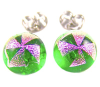 "Tiny DICHROIC EARRINGS Post Pink Cross on Lime Green Fused GLASS STUD 1/4"" 8mm"