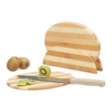 Set Frühstücksbrettchen und Ständer oval Küchenbretter Schneidebretter Bambus