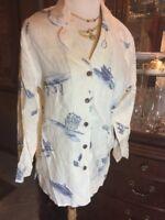 LINEN TUNIC SMALL SHIRT TOP Christine Women's Shirt S BLUE WHITE CASUAL