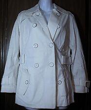 Joan Rivers Light Coat Double Button Machine Wash Jacket White Cream Small Belt