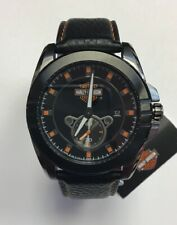 BULOVA Men's Harley-Davidson Orange Contrast Black Leather Strap WATCH 78B182