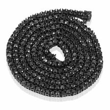 "BLACK DIAMOND CHAIN - Black Silver Hip Hop MEN'S WOMEN'S 4mm Stone 24"" AAA"