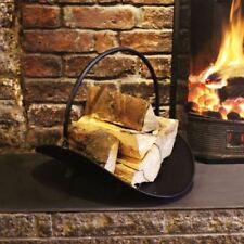 Fireside Log Holder Basket Black Steel Metal Fireplace Wood Carrier Rack Store