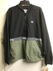 NEW Levi's Men Jacket Black/Green Size XL Windbreaker Anorak Contrast $160