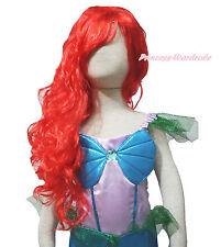 Halloween Hot Red Mermaid Princess Long Wave Curl Hair Party Cosplay Costume Wig