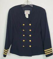 Mondi Womens Vtg Military Style Navy Blue Jacket Gold Stripes Wool Blend 34