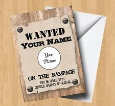 Personalised Own Photo/Picture Wanted (Cowboy/Wild West) Birthday Card