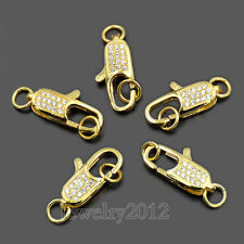 Zircon Lobster Claw Clasp Closure Ring Micro Pave Connector Bracelet Necklace