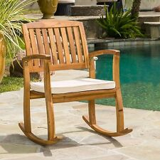 Outdoor Rocking Chair Acacia Wood With White Cushion Porch Sturdy Deck Pool