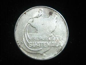 GUATEMALA 25 CENTAVOS QUETZAL 1943 SILVER BIRD NICE    6470# MONEY COIN