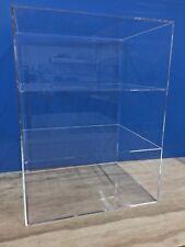 "Acrylic Lucite Countertop Display ShowCase Cabinet 12"" x 9.5"" x 16""h 2 shelves"