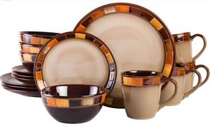 Gibson Elite Casa Estebana 16 Piece Dinnerware Set, Beige and Brown