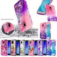 For Samsung Galaxy J7V 2nd Gen/J7 Crown Liquid Glitter Quicksand Hard Case Cover