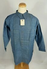 Dead stock NOS Vtg 1930's Chin Strap Chambray Denim Work Shirt Salt Pepper XXL