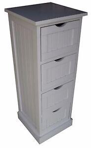 Bathroom 4Drawer 1 Door White Finish Storage Cupboard Unit