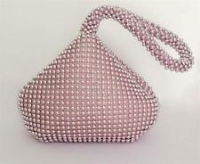 New Pink pouch Crystal Diamante Ladies Party Evening Wedding Clutch Hand Purse
