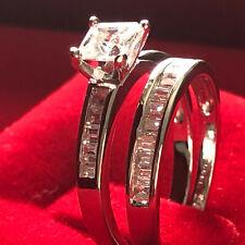 Wedding Ring Set B/Hsn Sz7,8,9 1Ct* Princess Cz Solid 925 Silver