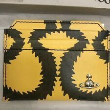 VIVIENNE WESTWOOD ACCESSORIES  SQUIGGLE PRINT LEATHER CARD HOLDER - YELLOW