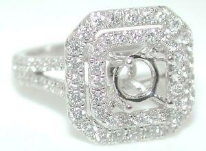 1 CT RADIANT Double HALO DIAMOND Mounting RING Setting 14KW