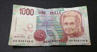 Italy, Banca D'Italia 1000 Lire Mille Banknote Currency 1990 ephemera