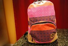 Roxy Harmony Pink Multi Colored Leather Backpack School Bag NEW