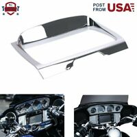 Chrome Deluxe Tri-Line Stereo Trim Cover For 2014-2019 Harley Glide Touring FLHT