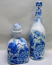 Set of 2, Hand Painted, Reburbished Decoupage Bottles, Birds, Floral