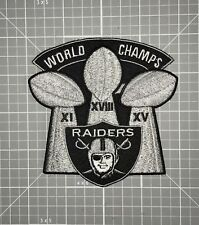"OAKLAND RAIDERS JERSEY PATCH ""WORLD CHAMPS"" 3-SUPER BOWL TROPHY IRON/SEW ON NEW!"