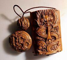Antique Japanese Boxwood Inro Ojime and Netsuke Dragons (signed twice)