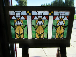~ANTIQUE STAINED GLASS TRANSOM WINDOW ~ 35.5 x 19.75 ~ ARCHITECTURAL SALVAGE ~