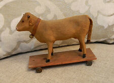 """Antique 7"""" German Cow w/Glass Eyes Primitive Pull Toy on Wooden Platform w Bell"""