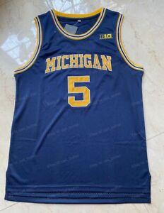 Jalen Rose #5 Michigan Wolverines University Basketball Jersey Men's Sewn Blue