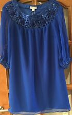 Monsoon Royal Blue Embellished Sequin Shift Dress With Chiffon Sleeves - Size 8