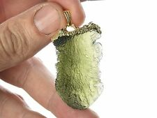 MOLDAVITE + GARNETS COSTUME JEWELRY PENDANT COPPER GOLD 10.7g #BIZUPEND432